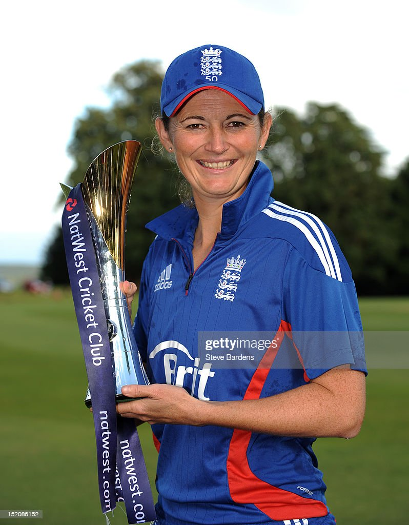 The England Captain Charlotte Edwards with the NatWest International T20 Trophy after the NatWest Women's International T20 Series match between England Women and West Indies Women at Arundel on September 16, 2012 in London, England.
