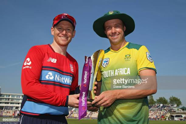 The England captain Eoin Morgan and South Africa captain AB de Villiers pose with the NatWest trophy prior to the 1st NatWest T20 International match...