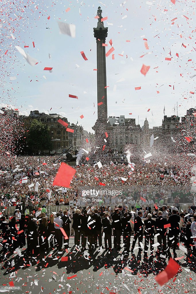 The England Cricket team are seen in Trafalgar Square as part of the Ashes victory celebration September 13 2005 in London England
