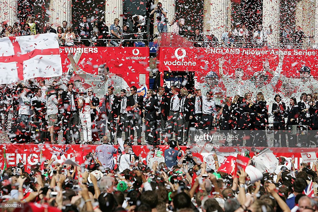 The England Cricket Team arrive in Trafalgar Square as fans gather to celebrate the team winning the Ashes Tour September 13 2005 in London