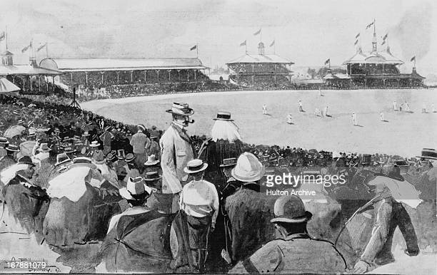 The England cricket team captained by Andrew Stoddart play Australia in the First Test at Sydney Cricket Ground 13th17th December 1897 England won...
