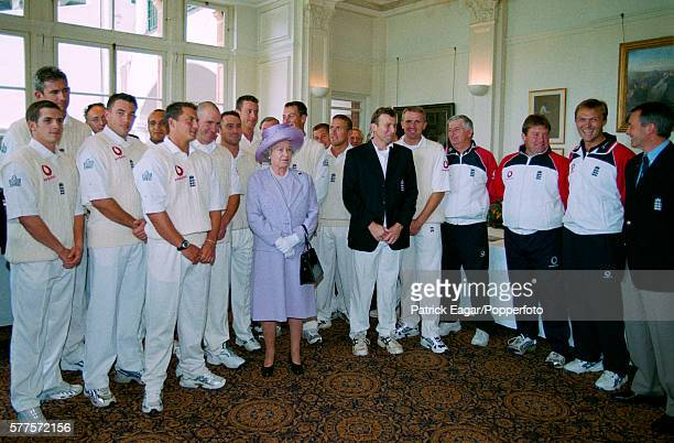 The England cricket team meet Queen Elizabeth II during the 2nd Test match between England and Australia at Lord's Cricket Ground London 19th July...