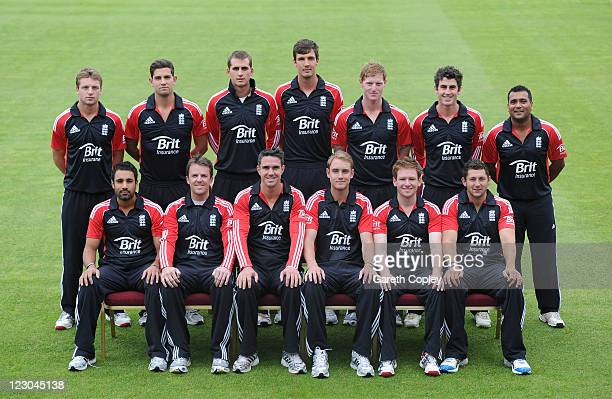The England cricket team pose for a team photograph at Old Trafford on August 30 2011 in Manchester England
