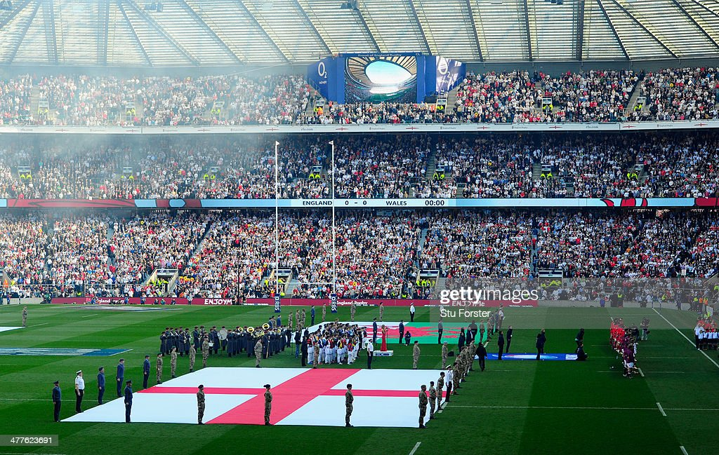 The England flag on show during the national anthem before the RBS Six Nations match between England and Wales at Twickenham Stadium on March 9, 2014 in London, England.