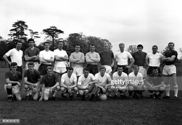 The England footballers who wil leave for Chilie and the World Cup Finals Back Row Armfield Norman Robson Swan Hodgkinson Springett Howe Ron Flowers...