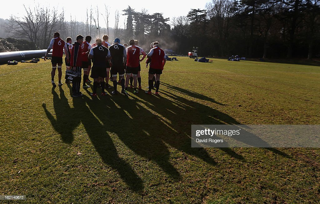 The England forwards gather during the England training session held at Pennyhill Park on February 19, 2013 in Bagshot, England.