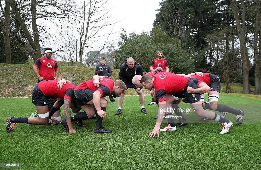 The England fowards run through drills under the guidance of Graham Rowntree the England forwards coach during the England Training Session at...