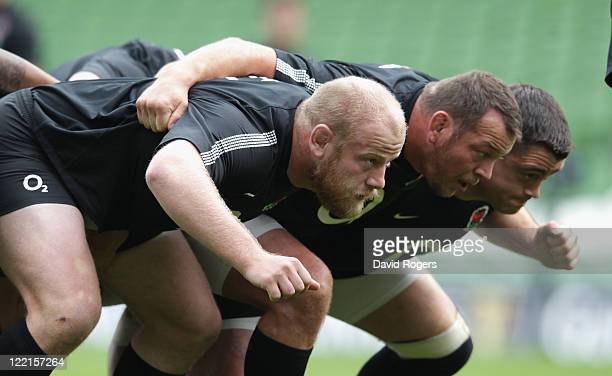 The England front row Dan Cole Steve Thompson and Andrew Sheridan practice their scrummaging during the England captain's run held at the Aviva...