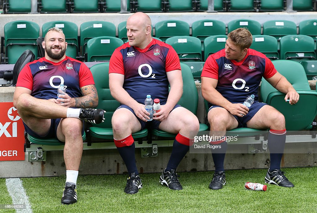 The England front row players <a gi-track='captionPersonalityLinkClicked' href=/galleries/search?phrase=Joe+Marler&family=editorial&specificpeople=5082292 ng-click='$event.stopPropagation()'>Joe Marler</a> (L), <a gi-track='captionPersonalityLinkClicked' href=/galleries/search?phrase=Dan+Cole&family=editorial&specificpeople=4166468 ng-click='$event.stopPropagation()'>Dan Cole</a> and <a gi-track='captionPersonalityLinkClicked' href=/galleries/search?phrase=Tom+Youngs+-+Rugby+Player&family=editorial&specificpeople=10880014 ng-click='$event.stopPropagation()'>Tom Youngs</a> (R) take a break after the England captain's run at Twickenham Stadium on September 4, 2015 in London, England.
