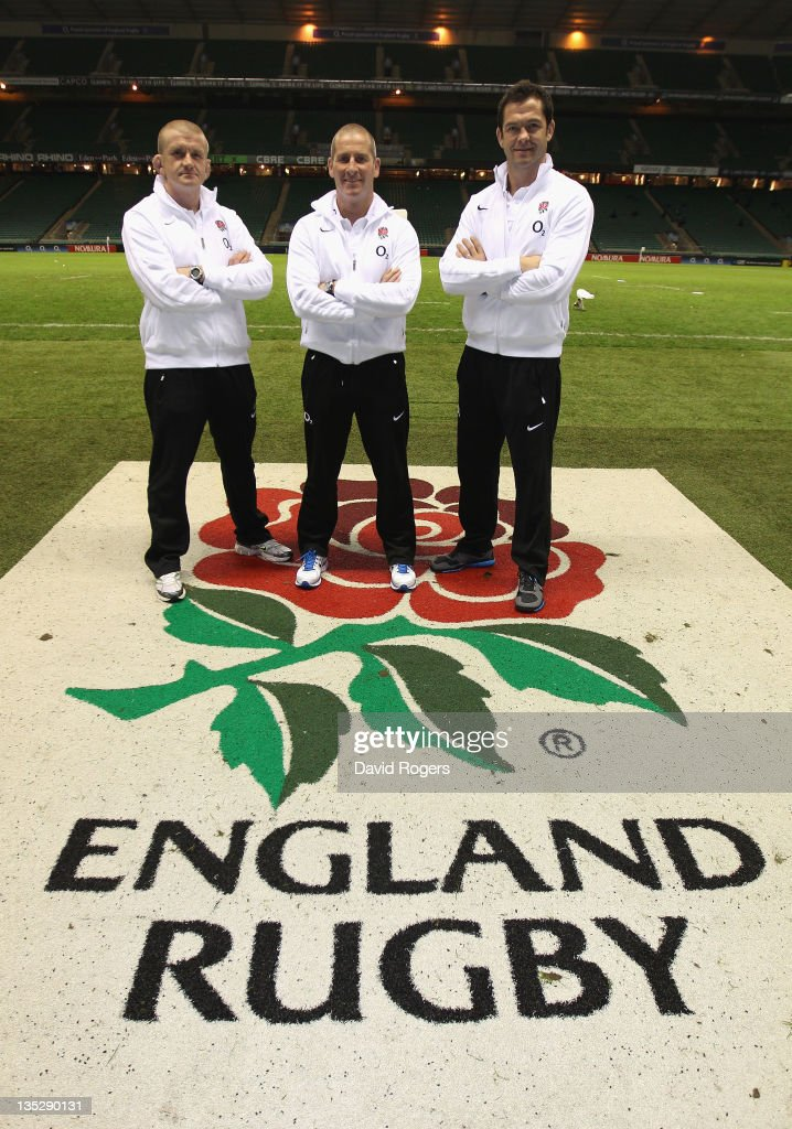 The England interim coaching team of <a gi-track='captionPersonalityLinkClicked' href=/galleries/search?phrase=Stuart+Lancaster&family=editorial&specificpeople=2263180 ng-click='$event.stopPropagation()'>Stuart Lancaster</a>, (C) head coach, <a gi-track='captionPersonalityLinkClicked' href=/galleries/search?phrase=Andy+Farrell+-+Rugby+Coach&family=editorial&specificpeople=234823 ng-click='$event.stopPropagation()'>Andy Farrell</a> (R) the backs coach and <a gi-track='captionPersonalityLinkClicked' href=/galleries/search?phrase=Graham+Rowntree&family=editorial&specificpeople=215047 ng-click='$event.stopPropagation()'>Graham Rowntree</a> the forwards coach pose after at press conference held to announce the interim coaching team at Twickenham Stadium on December 8, 2011 in London, England.