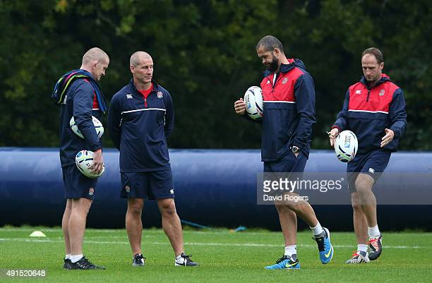 The England management team of Graham Rowntree forwards coach head coach Stuart Lancaster backs coach Andy Farrell and skills coach Mike Catt look on...