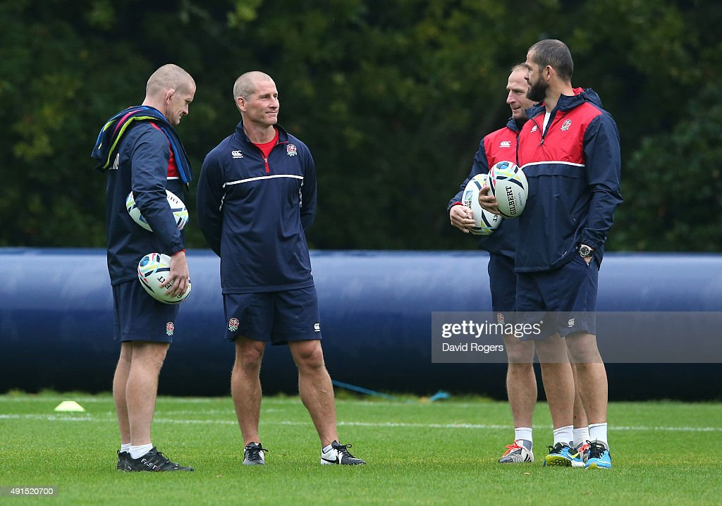 The England management team of Graham Rowntree forwards coach head coach Stuart Lancaster skills coach Mike Catt and backs coach Andy Farrell look on...
