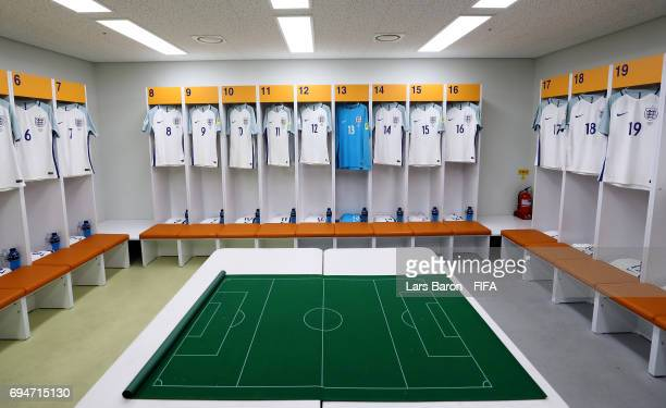 The England match jerseys are seen in the dressing room prior to the FIFA U20 World Cup Korea Republic 2017 Final match between Venezuela and England...