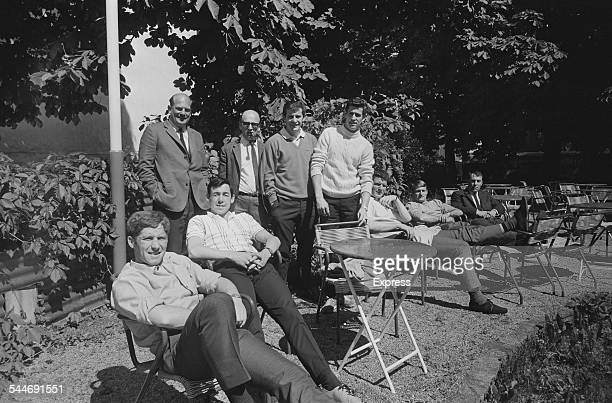 The England national football team take a break from training in Vienna Austria 28th May 1967 Featured are Alan Ball Gordon Banks Alan Mullery Peter...