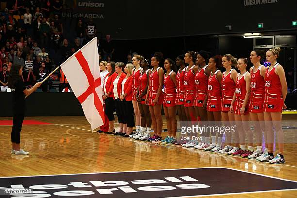 The England netball team during the International netball Test match between the New Zealand Silver Ferns and England on October 28 2014 in Rotorua...
