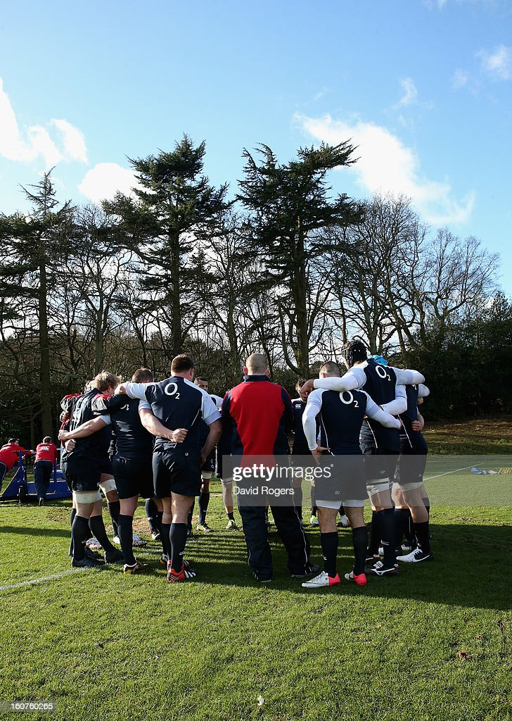 The England pack gather during the England training session at Pennyhill Park on February 5, 2013 in Bagshot, England.
