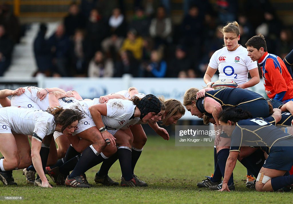 The England pack prepares for a scrum during the Womens Six Nations match between England and Scotland at Esher RFC on February 2, 2013 in Esher, England.