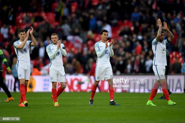 The England players applaud the fans following the final whistle during the FIFA 2018 World Cup Qualifier between England and Lithuania at Wembley...