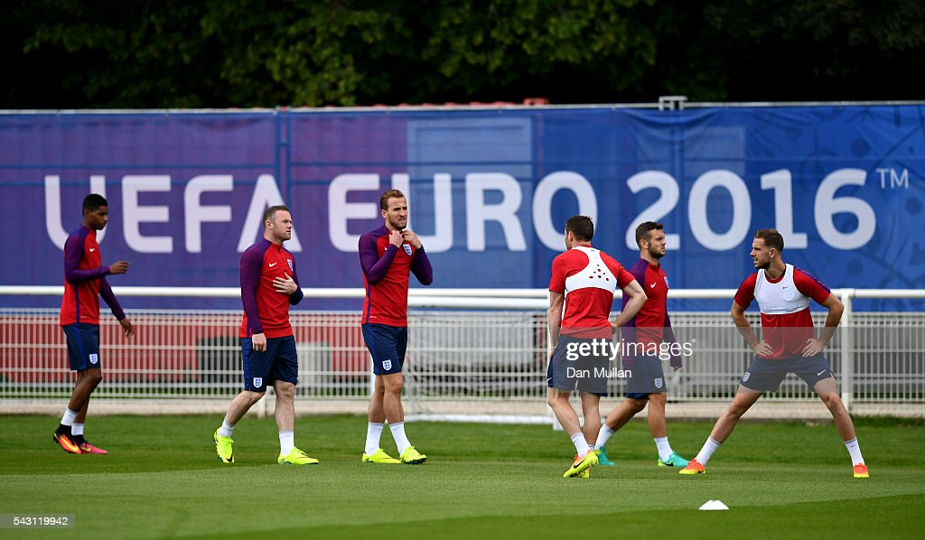The England players arrive at the ground prior to a training session ahead of the UEFA Euro 2016 match against Iceland at Stade du Bourgognes on June 26, 2016 in Chantilly, France.