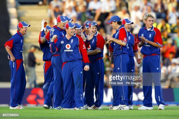 The England players celebrate the run out of Pakistan's Mohammad Hafeez during the third oneday International at the Rose Bowl Southampton