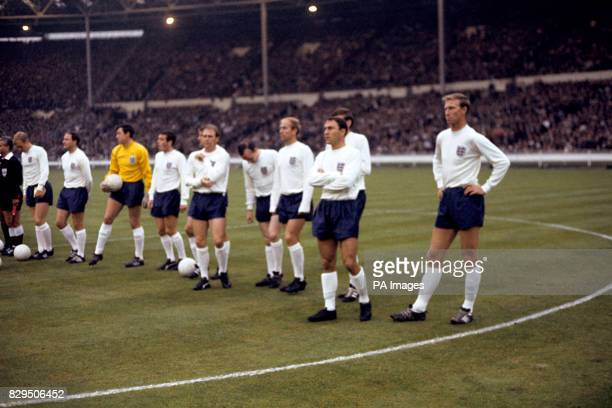 The England players line up before the game Bobby Moore George Cohen Gordon Banks Ian Callaghan Roger Hunt Ray Wilson Nobby Stiles Bobby Charlton...