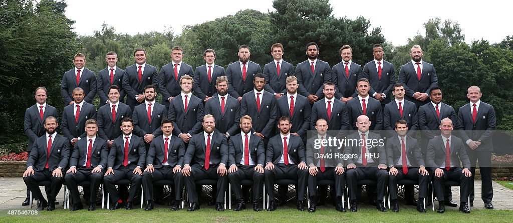 The England playing Squad and coaches for the 2015 Rugby World Cup (Back Row, left to right ) <a gi-track='captionPersonalityLinkClicked' href=/galleries/search?phrase=Tom+Youngs+-+Giocatore+di+rugby&family=editorial&specificpeople=10880014 ng-click='$event.stopPropagation()'>Tom Youngs</a>, Leicester Tigers, <a gi-track='captionPersonalityLinkClicked' href=/galleries/search?phrase=George+Ford+-+Giocatore+di+rugby&family=editorial&specificpeople=11374128 ng-click='$event.stopPropagation()'>George Ford</a> of Bath Rugby, <a gi-track='captionPersonalityLinkClicked' href=/galleries/search?phrase=Jamie+George+-+Giocatore+di+rugby&family=editorial&specificpeople=11374238 ng-click='$event.stopPropagation()'>Jamie George</a> of Saracens, David Wilson of Bath Rugby, <a gi-track='captionPersonalityLinkClicked' href=/galleries/search?phrase=Alex+Goode&family=editorial&specificpeople=2060375 ng-click='$event.stopPropagation()'>Alex Goode</a> of Saracens, <a gi-track='captionPersonalityLinkClicked' href=/galleries/search?phrase=Kieran+Brookes&family=editorial&specificpeople=6139892 ng-click='$event.stopPropagation()'>Kieran Brookes</a> of Northampton Saints, <a gi-track='captionPersonalityLinkClicked' href=/galleries/search?phrase=Henry+Slade+-+Giocatore+di+rugby&family=editorial&specificpeople=13834974 ng-click='$event.stopPropagation()'>Henry Slade</a> of Exeter Chiefs, <a gi-track='captionPersonalityLinkClicked' href=/galleries/search?phrase=Billy+Vunipola&family=editorial&specificpeople=5771576 ng-click='$event.stopPropagation()'>Billy Vunipola</a> of Saracens, <a gi-track='captionPersonalityLinkClicked' href=/galleries/search?phrase=Jack+Nowell&family=editorial&specificpeople=7377985 ng-click='$event.stopPropagation()'>Jack Nowell</a> of Exeter Chiefs, Anthony Watson of Bath, Joe Marler of Harlequins. (Middle Row, left to right) Mike Catt, attacking skills coach, <a gi-track='captionPersonalityLinkClicked' href=/galleries/search?phrase=Jonathan+Joseph+-+Giocatore+di+rugby&family=editorial&specificpeople=11460526 ng-click='$event.stopPropagation()'>Jonathan Joseph</a> of Bath Rugby, <a gi-track='captionPersonalityLinkClicked' href=/galleries/search?phrase=Brad+Barritt&family=editorial&specificpeople=4542508 ng-click='$event.stopPropagation()'>Brad Barritt</a> of Saracens, <a gi-track='captionPersonalityLinkClicked' href=/galleries/search?phrase=Rob+Webber&family=editorial&specificpeople=2266192 ng-click='$event.stopPropagation()'>Rob Webber</a> of Bath Ruby, <a gi-track='captionPersonalityLinkClicked' href=/galleries/search?phrase=Joe+Launchbury&family=editorial&specificpeople=7440712 ng-click='$event.stopPropagation()'>Joe Launchbury</a> of Wasps, <a gi-track='captionPersonalityLinkClicked' href=/galleries/search?phrase=Geoff+Parling&family=editorial&specificpeople=820816 ng-click='$event.stopPropagation()'>Geoff Parling</a> of Exeter Chiefs, <a gi-track='captionPersonalityLinkClicked' href=/galleries/search?phrase=Courtney+Lawes&family=editorial&specificpeople=5385543 ng-click='$event.stopPropagation()'>Courtney Lawes</a> of Northampton Saints, <a gi-track='captionPersonalityLinkClicked' href=/galleries/search?phrase=George+Kruis&family=editorial&specificpeople=6179640 ng-click='$event.stopPropagation()'>George Kruis</a> of Saracens, <a gi-track='captionPersonalityLinkClicked' href=/galleries/search?phrase=Ben+Morgan+-+Giocatore+di+rugby&family=editorial&specificpeople=9041863 ng-click='$event.stopPropagation()'>Ben Morgan</a> of Gloucester Rugby, <a gi-track='captionPersonalityLinkClicked' href=/galleries/search?phrase=Sam+Burgess&family=editorial&specificpeople=2650353 ng-click='$event.stopPropagation()'>Sam Burgess</a> of Bath Rugby, <a gi-track='captionPersonalityLinkClicked' href=/galleries/search?phrase=Jonny+May&family=editorial&specificpeople=5813545 ng-click='$event.stopPropagation()'>Jonny May</a> of Gloucester Rugby, <a gi-track='captionPersonalityLinkClicked' href=/galleries/search?phrase=Mako+Vunipola&family=editorial&specificpeople=4948128 ng-click='$event.stopPropagation()'>Mako Vunipola</a> of Saracens, Graham Rowntree, forwards coach. ( Front Row, left to right) Andy Farrell backs coach, Owen Farrrell of Saracens, <a gi-track='captionPersonalityLinkClicked' href=/galleries/search?phrase=Danny+Care&family=editorial&specificpeople=539686 ng-click='$event.stopPropagation()'>Danny Care</a> of Harlequins, Ben Youngs of Leicester Tigers, James Haskell of Wasps, Chris Robshaw (Captain) of Harlequins, Tom Wood of Northampton Saints, Mike Brown of Harlequins, Dan Cole of Leicester Tigers, Richard Wigglesworth of Saracens and Stuart Lancaster, head coach pose for a team photograph at Pennyhill Park on September 9, 2015 in Bagshot, England.