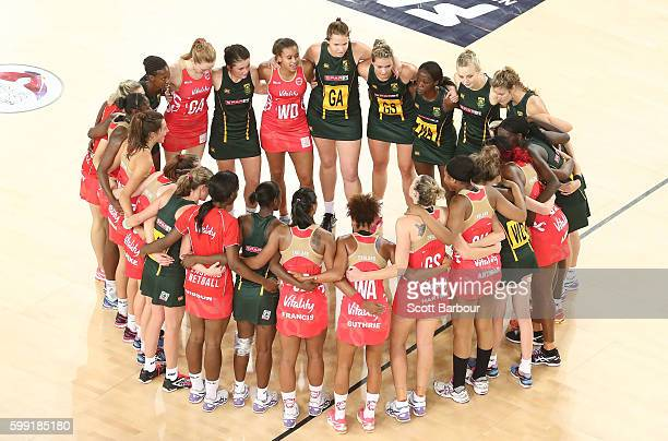 The England Roses and the Proteas form a huddle after the International Test match between the South Africa Spar Proteas and England Roses at...