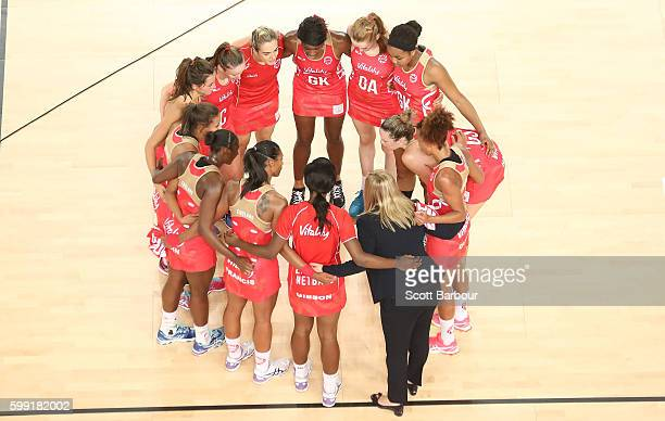 The England Roses form a huddle during the International Test match between the South Africa Spar Proteas and England Roses at Margaret Court Arena...