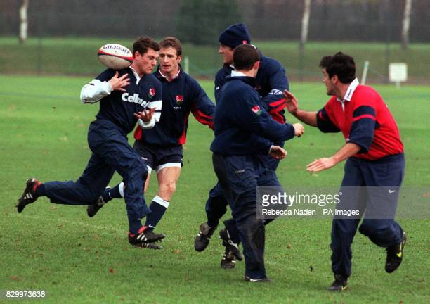 The England rugby squad in training at Roehampton today as the team prepares for Saturday's match against South Africa at Twickenham From left Matt...