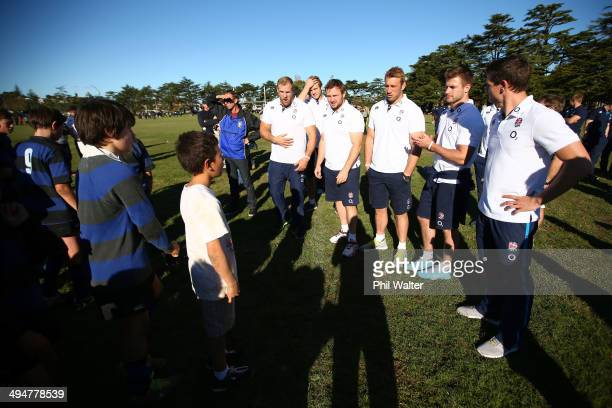 The England rugby team take part in a coaching clinic with Ponsonby Junior rugby players during the England Rugby Squad Community Day at Ponsonby RFC...