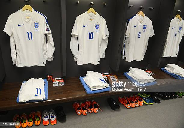 The England shirt worn by Wayne Rooney on his 100th cap hangs in the dressing room prior to the EURO 2016 Group E Qualifier match between England and...