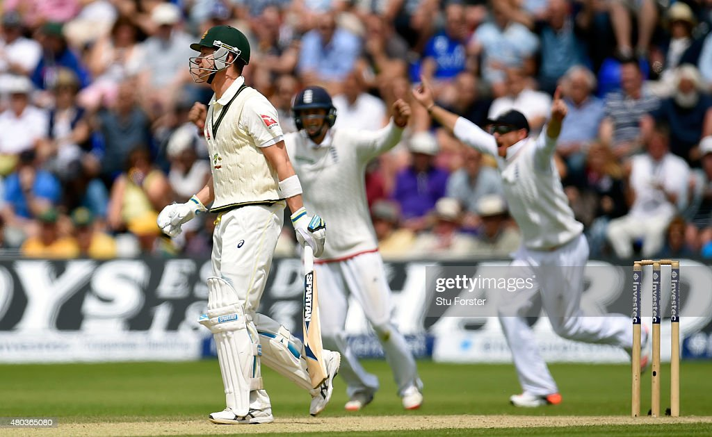 The England slips celebrate as Australia captain Michael Clarke reacts after being caught during day four of the 1st Investec Ashes Test match between England and Australia at SWALEC Stadium on July 11, 2015 in Cardiff, United Kingdom.