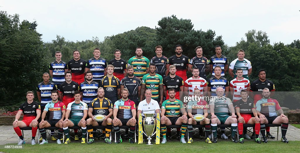 The England Squad for the 2015 Rugby World Cup (Back Row, left to right ) George Ford of Bath Rugby, <a gi-track='captionPersonalityLinkClicked' href=/galleries/search?phrase=Jamie+George+-+Rugby+Player&family=editorial&specificpeople=11374238 ng-click='$event.stopPropagation()'>Jamie George</a> of Saracens, David Wilson of Bath Rugby, <a gi-track='captionPersonalityLinkClicked' href=/galleries/search?phrase=Alex+Goode&family=editorial&specificpeople=2060375 ng-click='$event.stopPropagation()'>Alex Goode</a> of Saracens, Kieran Brookes of Northampton Saints, <a gi-track='captionPersonalityLinkClicked' href=/galleries/search?phrase=Henry+Slade+-+Rugby+Player&family=editorial&specificpeople=13834974 ng-click='$event.stopPropagation()'>Henry Slade</a> of Exeter Chiefs, Billy Vunipola of Saracens, Jack Nowell of Exeter Chiefs, Anthony Watson of Bath, Tom Youngs of Leicester Tigers (Middle Row, left to right) Jonathan Joseph of Bath Rugby, Brad Barritt of Saracens, Rob Webber of Bath Ruby, Joe Launchbury of Wasps, Geoff Parling of Exeter Chiefs, Courtney Lawes of Northampton Saints, George Kruis of Saracens, Ben Morgan of Gloucester Rugby, Sam Burgess of Bath Rugby, Jonny May of Gloucester Rugby, Mako Vunipola of Saracens ( Front Row, left to right Owen Farrrell of Saracens, Danny Care of Harlequins, Ben Youngs of Leicester Tigers, James Haskell of Wasps, Chris Robshaw (Captain) of Harlequins, <a gi-track='captionPersonalityLinkClicked' href=/galleries/search?phrase=Stuart+Lancaster&family=editorial&specificpeople=2263180 ng-click='$event.stopPropagation()'>Stuart Lancaster</a> ( Head Coach) Tom Wood of Northampton Saints, Mike Brown of Harlequins, Dan Cole of Leicester Tigers, Richard Wigglesworth of Saracens, Joe Marler of Harlequins pose for a picture in their Aviva Premiership Club Kits at Pennyhill Park on September 9, 2015 in Bagshot, England.