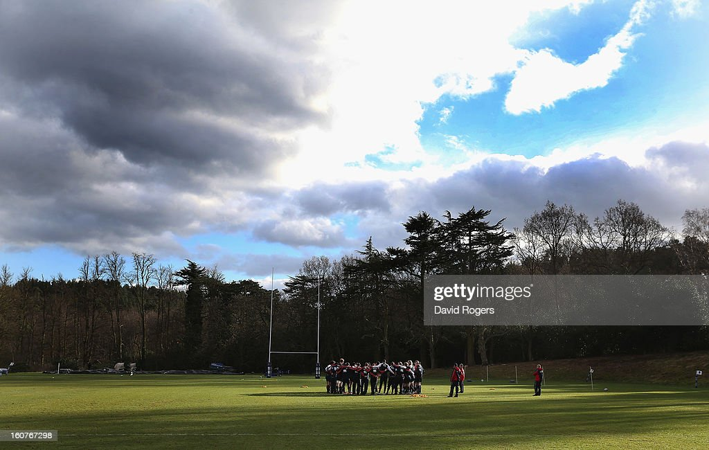 The England squad gather during the England training session at Pennyhill Park on February 5, 2013 in Bagshot, England.