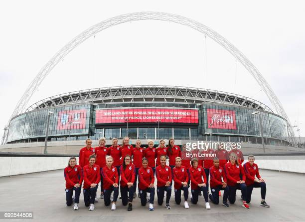 The England squad line up outside the stadium during an England Women Euro 2017 media day at Wembley Stadium on June 5 2017 in London England