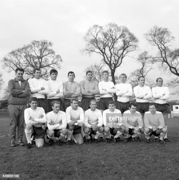 The England squad pictured after training for a match against Spain in Madrid Back row Harold Shepherdson Keith Newton Norman Hunter Gordon Banks...
