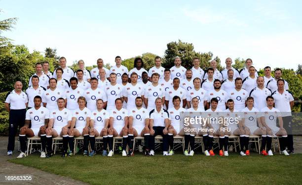 The England squad pose for a group photograph before their tour of Argentina at Pennyhill Park on May 27 2013 in Bagshot England