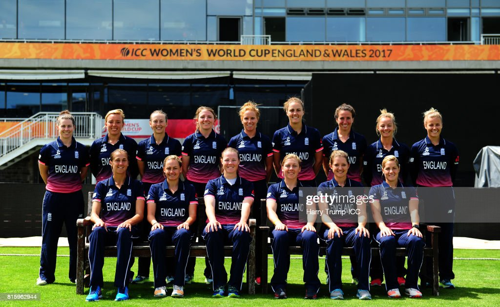 The England squad pose for a photo during the England v South Africa - ICC Women's World Cup: Previews at the Brightside Ground on July 17, 2017 in Bristol, England.