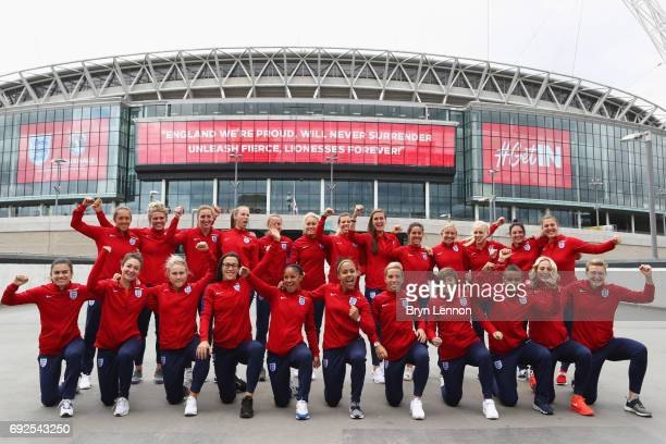 The England squad pose outside the stadium during an England Women Euro 2017 media day at Wembley Stadium on June 5 2017 in London England