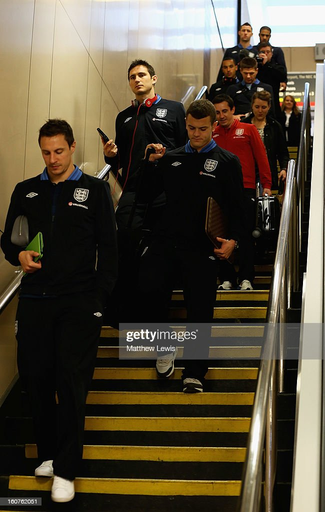 The England Squad travel to London by Train from Birmingham International Train Station on February 5, 2013 in Birmingham, England.