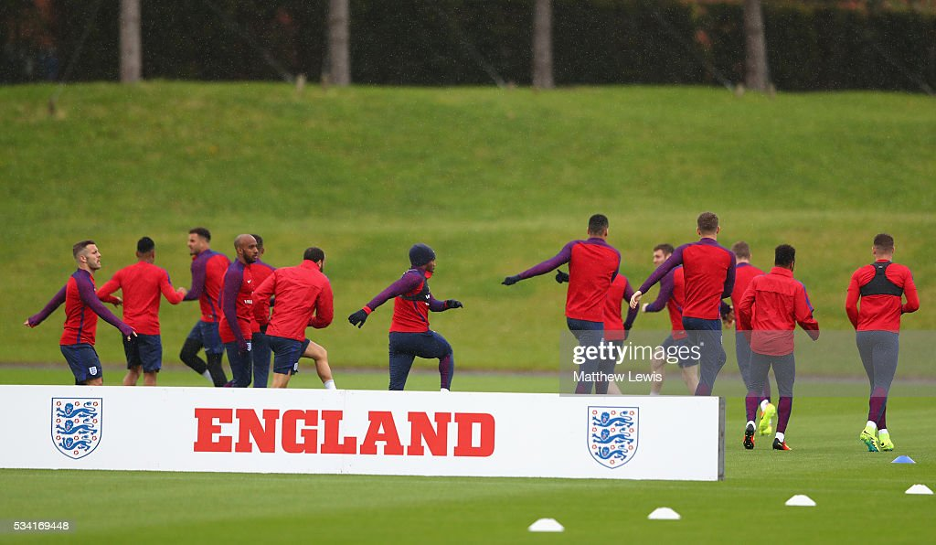 The England squad warm up during the England training session at Manchester City Football Academy on May 25, 2016 in Manchester, England.