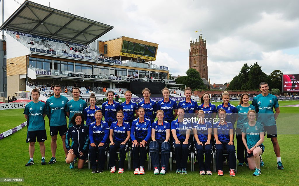The England Team and and coaching staff pose for a team photograph during the 3rd Royal Royal London ODI between England Women and Pakistan Women at The Cooper Associates County Ground on June 27, 2016 in Somerset, United Kingdom.