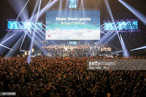 The England Team and fans join Take That at the finale during the Wear The Rose Live Official England Send off event hosted by O2 at The O2 Arena on...