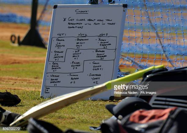 The England team board during the nets session at the Chidambaram Stadium Chennai India