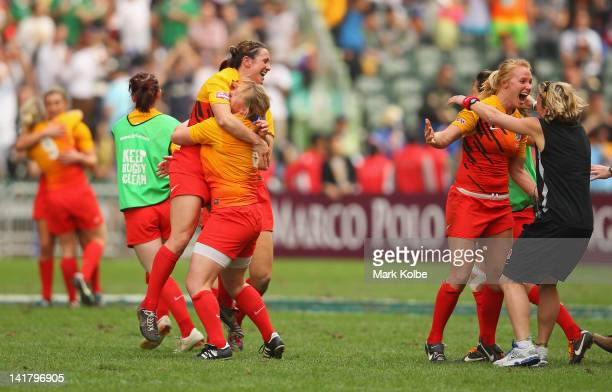 The England team celebrate after victory in the women's cup final match between England and Australia on day two of the 2012 IRB Hong Kong Sevens at...