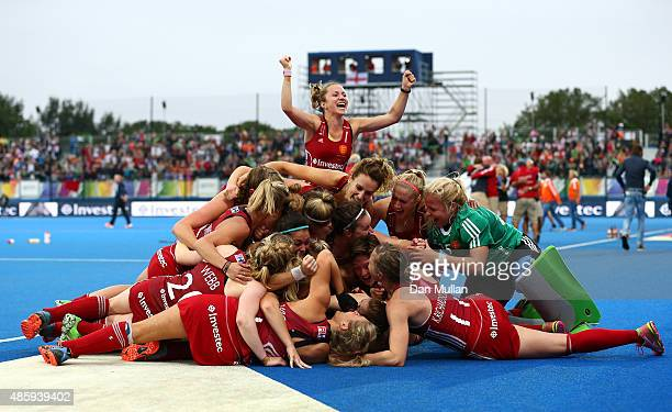 The England team celebrate after victory on penalties during the EuroHockey Womens Gold Medal match between England and The Netherlands at Lee Valley...