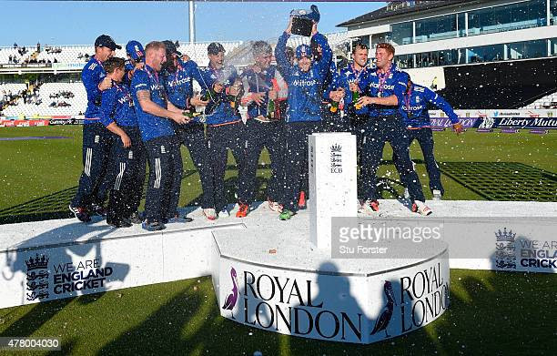 The England team celebrate after winning the series 32 after the 5th Royal London One day international between England and New Zealand at Emirates...