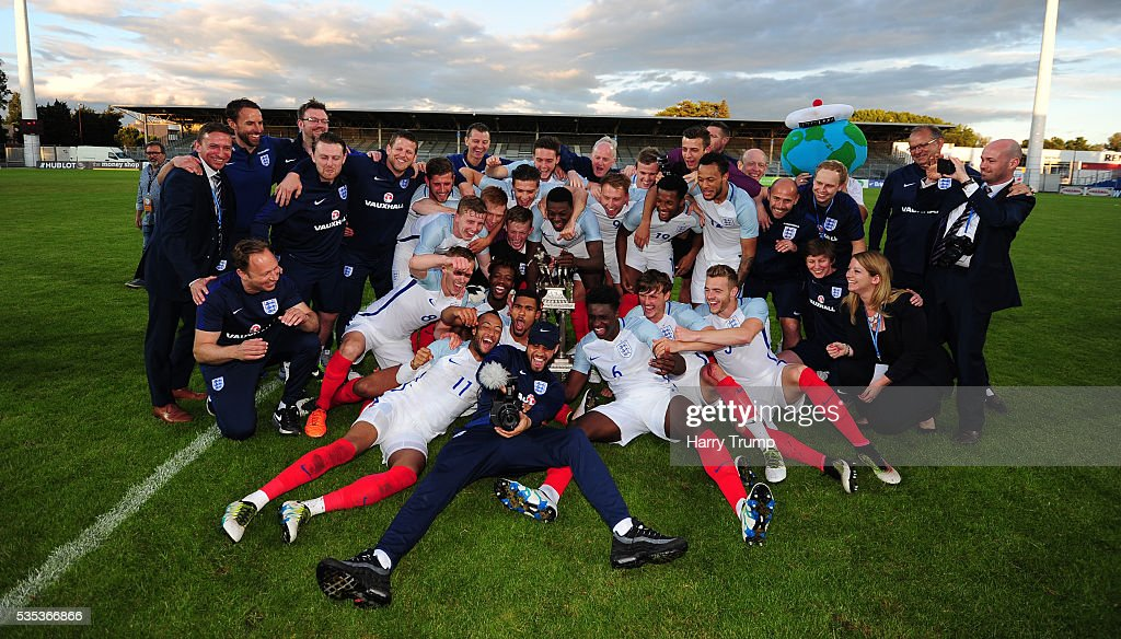 The England team celebrate during the Final of the Toulon Tournament between England and France at Parc Des Sports on May 29, 2016 in Avignon, France.