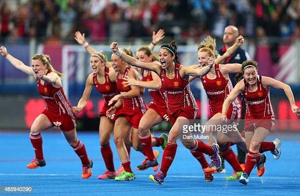 The England team celebrate victory after winning on penalties during the EuroHockey Womens Gold Medal match between England and The Netherlands at...
