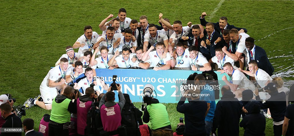 The England team celebrate winning the World Rugby U20 Championship Final Match between England and Ireland at the AJ Bell Stadium on June 25, 2016 in Salford, England.